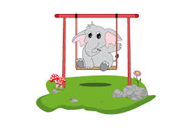 Animated svg drawing for android. Cute Elephant On Swing Illustration Graphic By Curutdesign Creative Fabrica