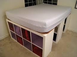 bathroom elevated varnished wooden bed frame with storage