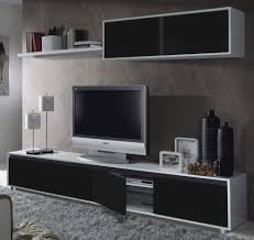 Living Room Tv Set Aida Tv Unit Living Room Furniture Set Media Wall Black On White