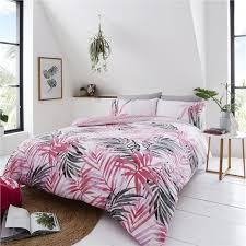 pink tropical palm leaf leopard print