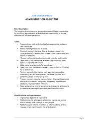 Samples Of Job Descriptions Administrative Assistant Job Description Template Word