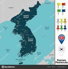 Map of Korean Peninsula Stock Vector Image by ©sateda #163863100