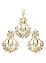 Chandbali Design Shop Peora Gold Plated Kundan Bead Chand Bali Earring Set Online In Dubai Abu Dhabi And All Uae
