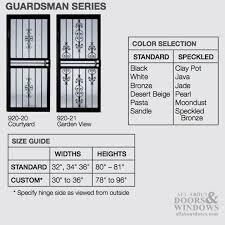 Larson Storm Door Size Chart Security Door Larson Courtyard Steel Frame