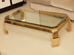 gold bamboo glass coffee table for industrial living room and