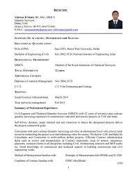 Resume Sample Quantity Surveyor Alphabetical Letter Templates