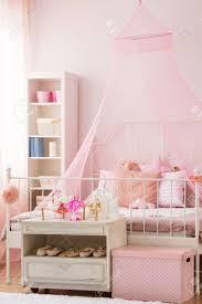 Rosa Mädchen Schlafzimmer Mit Himmelbett Und Weißem Bücherregal