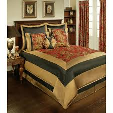 8pc red black gold framed fl jacquard comforter set queen king cal king