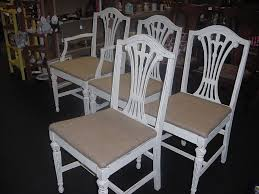four distressed cottage white solid wood chairs with burlap seats