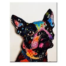 large size print oil painting wall painting boston terrier home decorative wall art picture for living