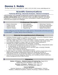 Sample Resume Science Research Scientific Communications Resume 2013