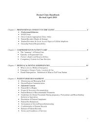 Dental Clinic Handbook Revised April 2010