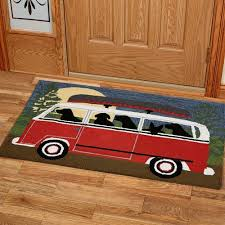 camping trip accent rug red