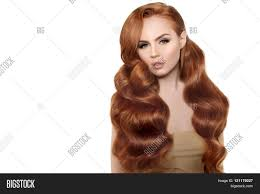 Hairstyles Female Hair Loss Model With Long Red Hair Waves Curls Hairstyle Hair Salon Updo