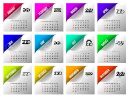 Calendar 2020 Template Calendar Design In Black And White Colors