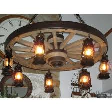 large wagon wheel chandelier with 7 lanterns ship antique