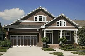 single wood front door white picket fence craftsman home exterior paint colors light brown colors brick front porch pillar gray wall combined brick exterior
