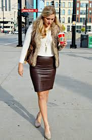 brown real leather pencil skirt