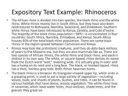 expository writing practice ppt video online  3 expository text example rhinoceros