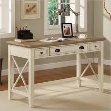 english country home ideas with classic white writing desk design and nice framed picture using metal study lamp