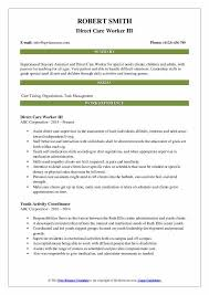 Care Worker Resume Direct Care Worker Resume Samples Qwikresume