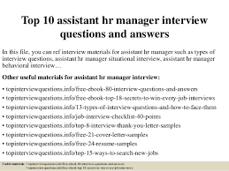 interview for hr position questions and answers top 10 assistant hr manager interview questions and answers 1 638 jpg cb 1426902397