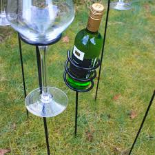 woodside outdoor picnic bbq barbecue wine bottle glass holder