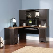 sauder harbor view corner computer desk with hutch antiqued white best spray paint for wood furniture