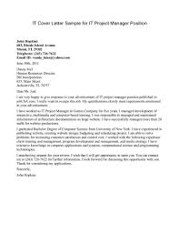 Cover Letter Sample For It Project Manager Granitestateartsmarket Com