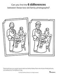 Small Picture Family History coloring pages to help keep the kids quiet during