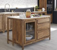 Solid Sheesham And Marble Kitchen Base Unit With Sink Stockholm