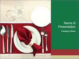 Table Setting Templates Table Setting With Red Napkin Powerpoint Template Infographics Slides