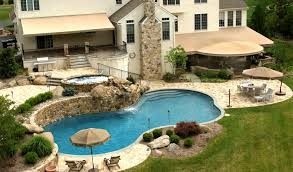 patio with pool. Awnings, Patios, Bar And Grill Make A Perfect Setting For Pool Party In Patio With S