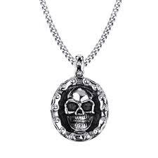 trendy men s stainless steel charm necklace punk skull pendant chain gift for men cod