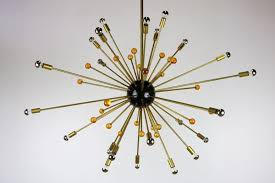 italian sputnik chandelier in black gold and orange from stilnovo 1950s 1