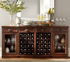 modular bar buffet with 2 wine grid bases 2 glass door cabinets pottery barn