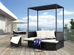 furniture deck. Modern Outdoor Furniture Design With Daybed Decor Using Black Canopy And White Cushion Combined Wooden Deck N