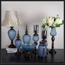 Small Picture Blue Color Flower Glass And Iron Vase With Metal Stand For Home