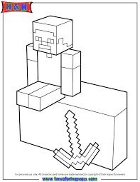 4 Minecraft Coloring Pages Herobrine Herobrine With Sword Coloring