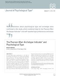 Pdf The Pearson Marr Archetype Indicator And Psychological Type