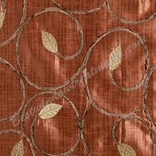 sinhala scroll with chenille leaf pattern in copper burnt orange color for ready made ds in standard size 96 and extra long inch dries or inch