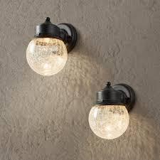 hampton bay sandy black outdoor led wall mount lantern 2 pack