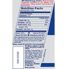 red bull energy drink nutrition label