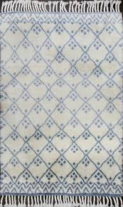 hind beni ourain moroccan rug ivory blue wool rug 19061 5 6 x8 scandinavian area rugs by rugsville