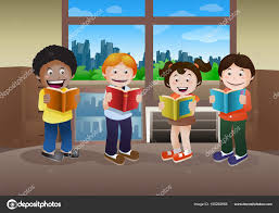 kids reading book on library background stock photo