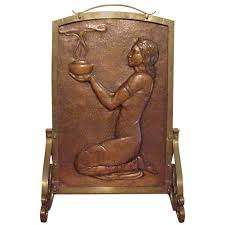 art deco bas relief copper fireplace screen of by lejeune