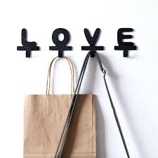 letter wall hooks home love letter metal adhesive hook cloth iron wall hooks key hanger simple