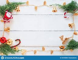 Background Decorations Design Christmas Scene With Decorations On White Wood Panel