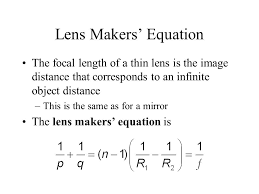 22 lens makers equation