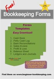 Small Business Bookkeeping Template Free Bookkeeping Forms And Accounting Templates Bookkeeping